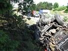 Zásah u nehody se neobešel bez úplného uzavření dálnice ve směru na Brno.