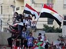Protivládní demonstranti v severoegyptské Alexandrii.