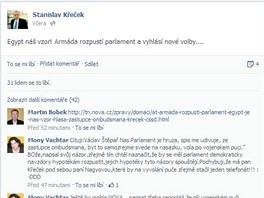 Egypt náš vzor! napsal na svůj profil zástupce ombudsmana Stanislav Křeček.