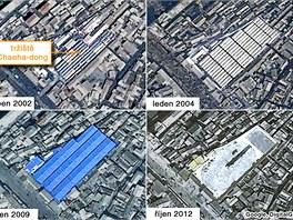 Jak se od roku 2002 zm�nilo tr�i�t� Chaeha-dong v severokorejsk�m m�st� Sinid�u.