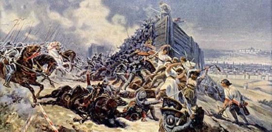 Bitva na Vítkově podle malíře Adolfa Libschera. Ten své hrdiny idealizoval. Na
