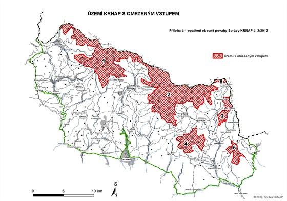 Mapka krkonošských lokalit, kde platí omezení vstupu kvůli sběračům borůvek...