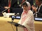 Pákistánská dívka Malalaj Jusufzaíová během svého vystoupení v OSN (12. července 2013)