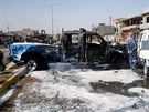 Následky atentátu v iráckém Kirkúku (14. července 2013)