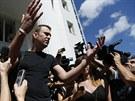 Ruský opoziční aktivista Alexej Navalnyj po dočasném propuštění z vězení (19....