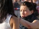 Zraněná dívka na demonstraci v Českých Budějovicích (13.7.2013)