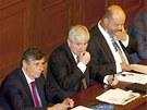 Minist financí Jan Fischer, premiér Jiří Rusnok a ministr vnitra Martin Pecina