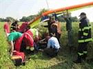 Pád rogala u Jaroměře na Náchodsku. Pilot se těžce zranil. (10. července 2013)