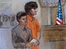 Na kresbě ze soudního stání 10. července stojí Džochar Carnajev v oranžových