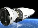 Ilustrace letu návratového modulu IXV, který vyvíjí Evropská vesmírná agentura.