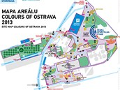 Mapa areálu, kde se odehrají Colours of Ostrava 2013.