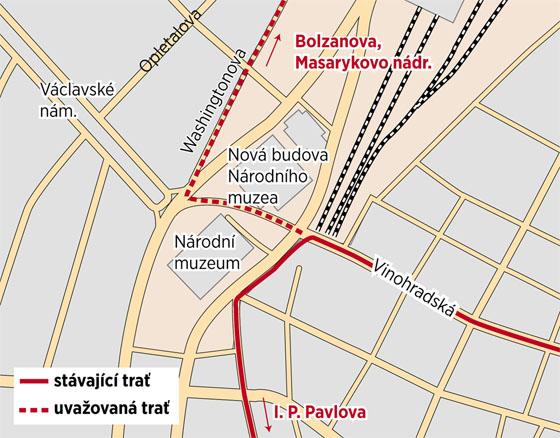 Plánovaný návrat tramvajové dopravy na Václavské náměstí se neuskuteční, nově