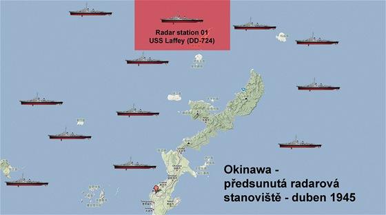 Mapa radarových hlídek u Okinawy.