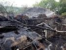 Hasiči likvidovali požár továrny Jawa v Týnci nad Sázavou.