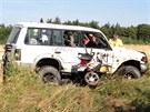 Mezi Kounicemi a Českým Brodem se čelně srazil jeep se čtyřkolkou, její řidič...