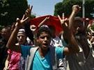 Od čtvrtka se v hlavním městě Tunisu shromažďují tisíce lidí požadujících...