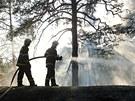 Hasiči likvidovali požár lesa v těžko přístupném terénu u Humpolce