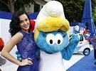 Katy Perry na premiéře filmu Šmoulové 2