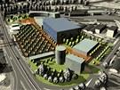 Vizualizace mo�n� podoby nov�ho zimn�ho stadionu - Han� ar�ny a okol� podle