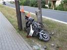 P�i druh� nehod� v ned�li v �esk� Vsi �krtl motork�� �patn� zaji�t�n�m stojanem