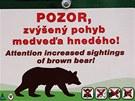 Cedule informující o výskytu medvědů