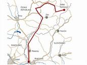 Mapa cyklostezky z Velkých Karlovic při Bečvě a Moravě až k Dunaji v Bratislavě.