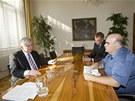 Premiér Jiří Rusnok při rozhovoru pro iDNES.cz (30. července 2013)