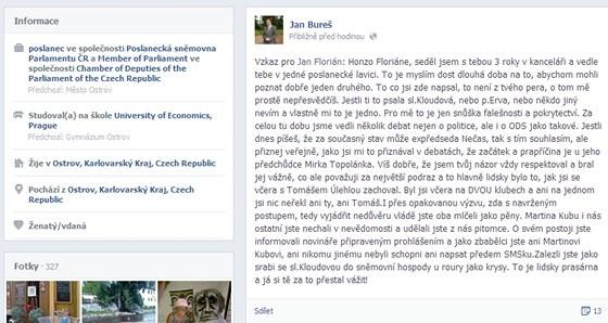 Vzkaz, který napsal na svůj facebookový profil, poslanec ODS Jan Bureš.