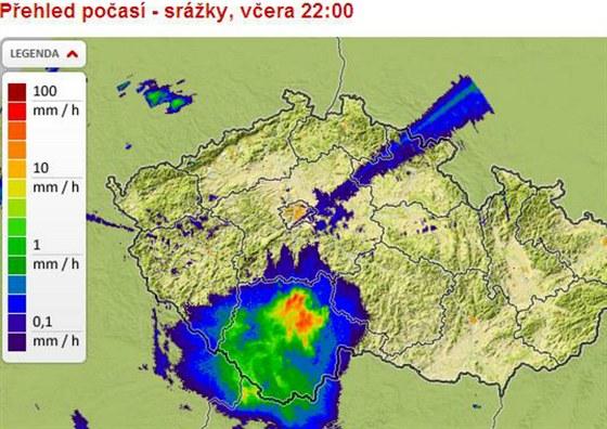 V noci ze středy na čtvrtek bouřky zasáhly především jižní Čechy,
