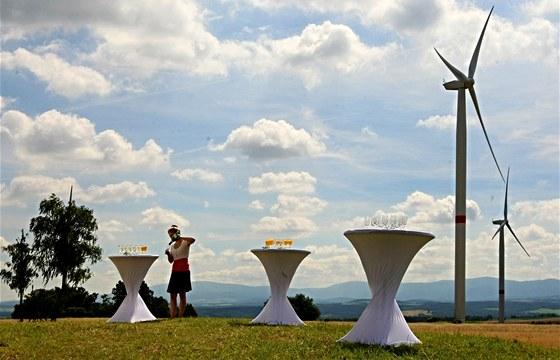 Otevírání větrného parku na Andělce.