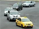 Do smuteční kolony se zapojilo zhruba 40 taxikářů.