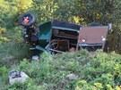 Místo nehody mezi Suchdolem nad Odrou a Kunínem.