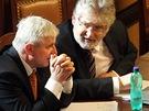 Premi�r Ji�� Rusnok a ministr zdravotnictv� Martin Holc�t