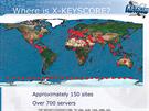 Rozmístění serverů, které umožňují sběr a uchování dat pro sledovací program XKeyscore (stav z roku 2008)