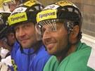 Jiří Šlégr (vlevo) a Martin Ručinský se zapojili do tréninku Litvínova.