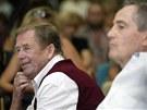 Václav Havel s Janem Tříškou při setkání v Liberci v roce 2003.