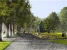 Vizualizace nov� podoby Jir�skova parku v Hronov�, socha spisovatele se m�