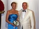 Monacký kníže Albert II. a jeho manželka Charlene (2. srpna 2013)