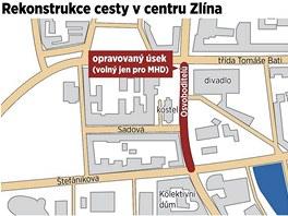 Rekonstrukce cesty v centru Zl�na