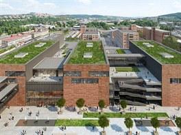 """Kratší strany nových budov by měly být obložené typickými """"baťovskými"""" cihlami."""