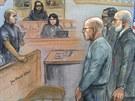 Kresba z procesu s Jamesem Bulgerem, gangster první zprava (12. srpna 2013)