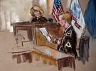 Kresba ze soudní síně ve Fort Meade zachycuje vojína Manninga, jak čte omluvu...