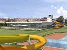 Vizualizace plánovaného akvaparku v Ostravě-Jihu. Zatím to vypadá, že nadlouho