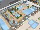 Vyhřívaný krytý i venkovní bazén, vlny, obří tobogány, sauny včetně