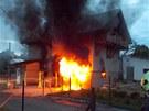 Požár garáže ve Veřovcích na Novojičínsku.
