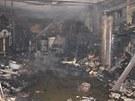 Požár garáže ve Veřovcích na Novojičínsku. Oheň garáž zcela zničil.