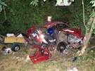 N�raz jedno z aut i s p��v�sn�m voz�kem odmr�til mezi stromy.