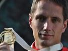 SE ZLATEM. Vítězslav Veselý a jeho zlatá medaile z mistrovství světa v Moskvě.
