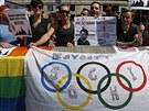 V sobotu 10. srpna lidé protestovali proti ruskému homofobnímu zákonu v centru...