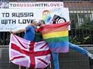 V belgických Antverpách se na protest proti ruskému homofobnímu zákonu před...
